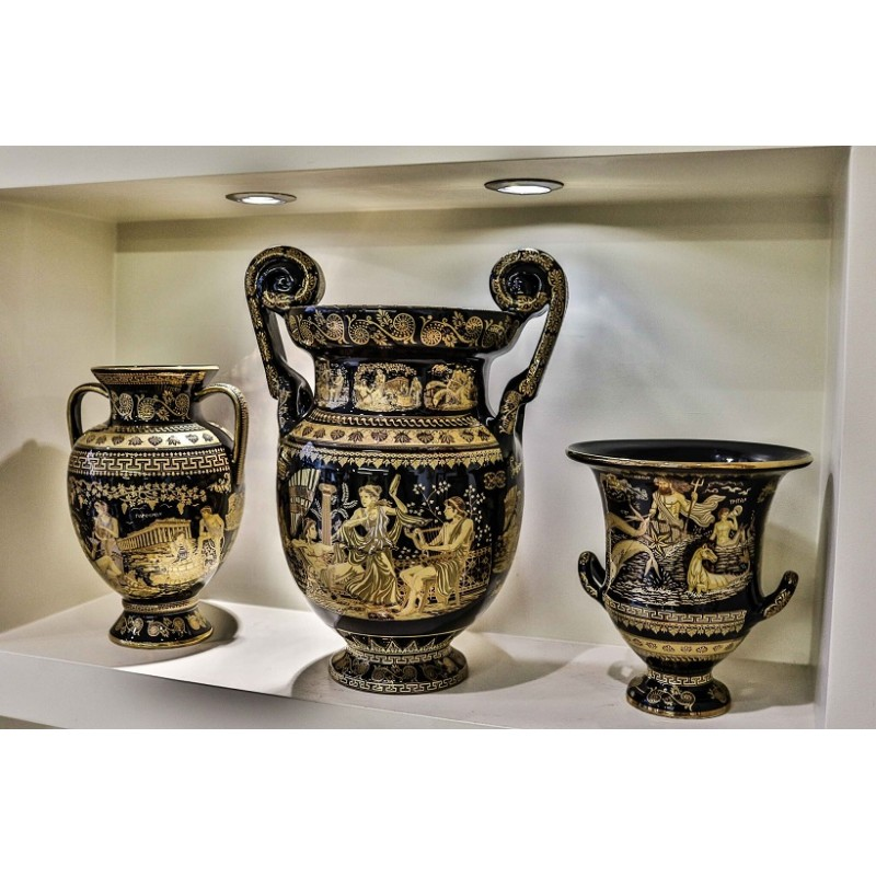 THE GODS OF OLYMPUS SET OF VASES